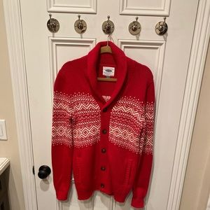 Men's Red Cardigan Sweater. Perfect for Christmas.